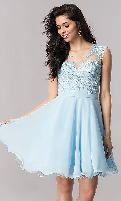 Image of a-line chiffon illusion-sweetheart short prom dress. Style: PO-8094 Front Image