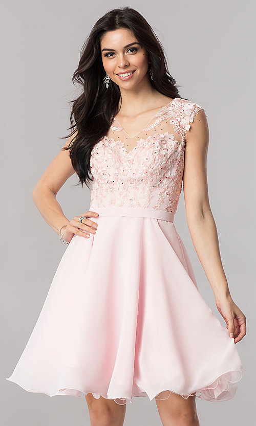 4166ae2cf017 Image of a-line chiffon illusion-sweetheart short prom dress. Style  PO