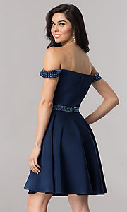 Image of navy blue off-the-shoulder short prom dress. Style: PO-8018 Back Image