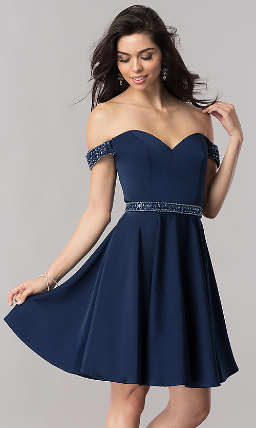 Image of navy blue off-the-shoulder short prom dress. Style: PO-8018 Front Image