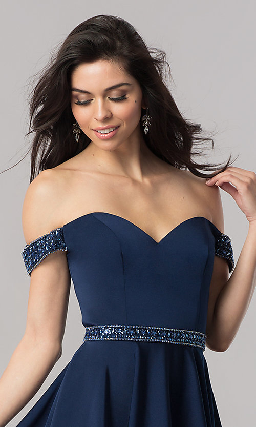 Image of navy blue off-the-shoulder short prom dress. Style: PO-8018 Detail Image 1