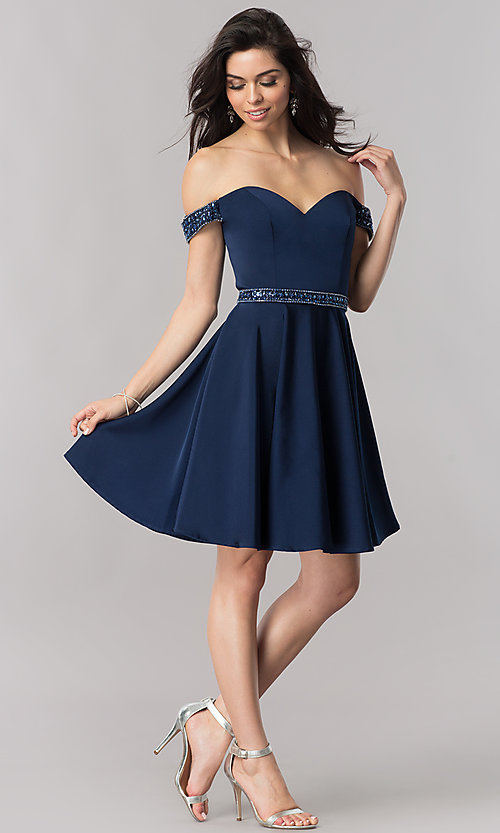 Image of navy blue off-the-shoulder short prom dress. Style: PO-8018 Detail Image 2