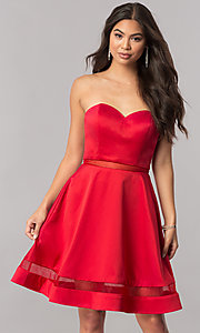 Image of strapless sweetheart illusion-inset-hem party dress. Style: PO-7990 Front Image
