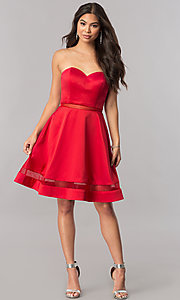 Image of strapless sweetheart illusion-inset-hem party dress. Style: PO-7990 Detail Image 1