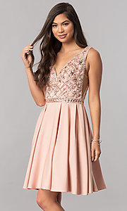 Short Embellished V-Neck Homecoming Dress