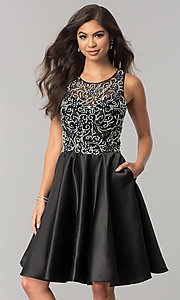 Knee-Length Embellished Bodice Homecoming Dress