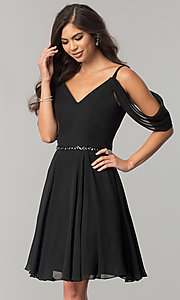 Short V-Neck Draped Sleeve Homecoming Dress