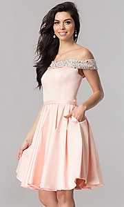 Image of off-the-shoulder short homecoming dress with beading. Style: PO-8138 Detail Image 3