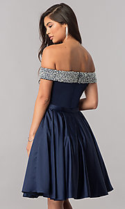 Image of off-the-shoulder short homecoming dress with beading. Style: PO-8138 Back Image