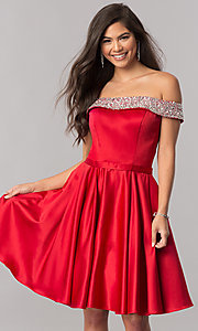 Image of off-the-shoulder short homecoming dress with beading. Style: PO-8138 Detail Image 2