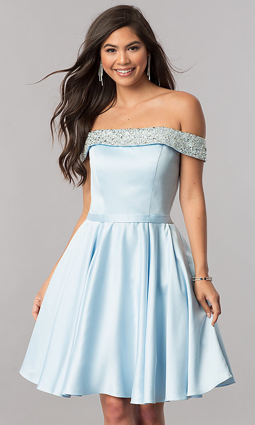 Image of off-the-shoulder short homecoming dress with beading. Style: PO-8138 Detail Image 1