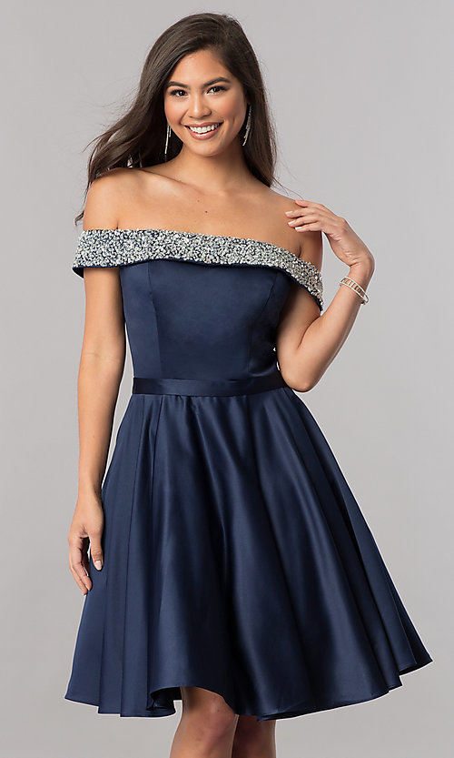 Image of off-the-shoulder short homecoming dress with beading. Style: PO-8138 Front Image