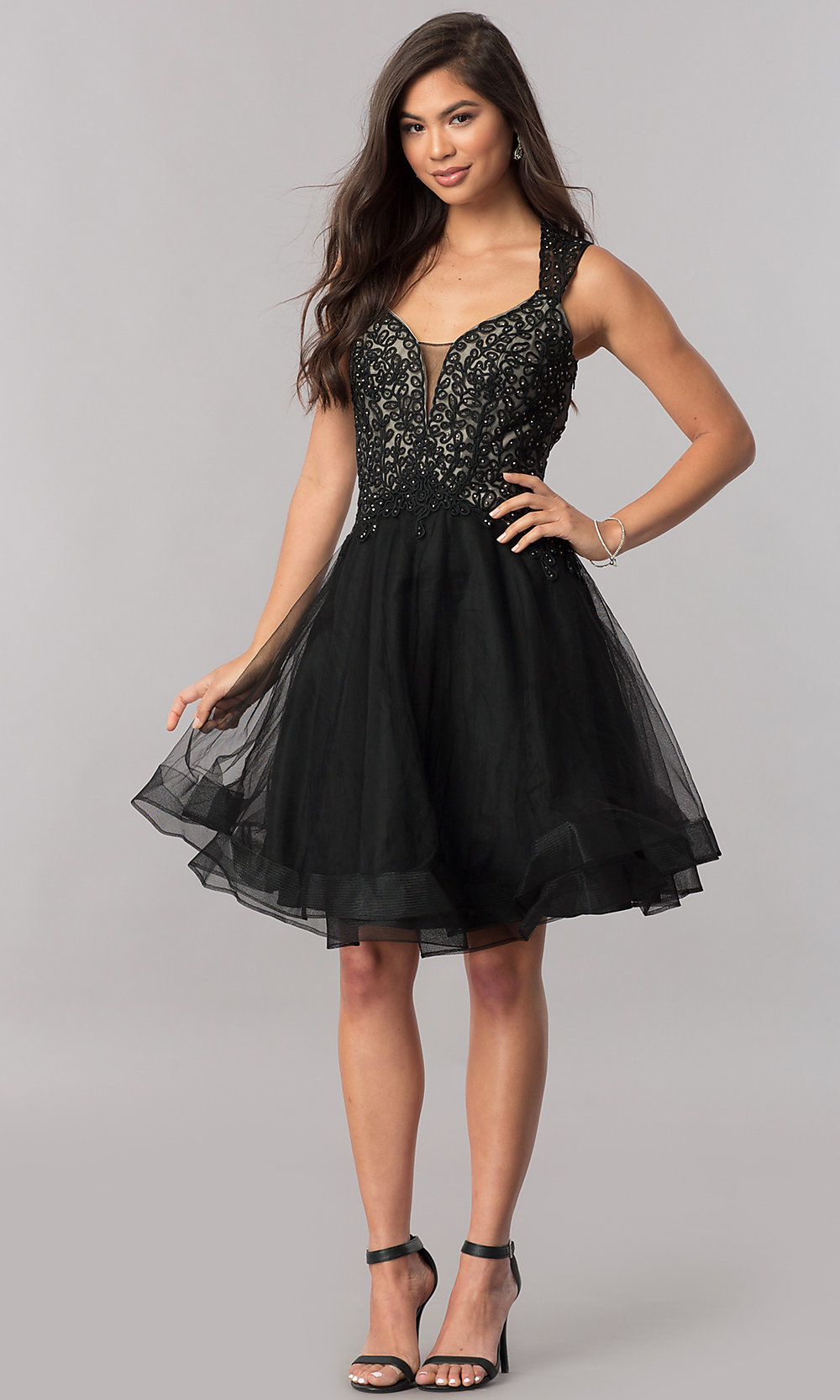 09b5927c24f Queen Anne V-Neck Short Tulle Party Dress - PromGirl