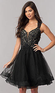 Image of short homecoming dress with Queen Anne v-neckline. Style: PO-8072 Detail Image 1