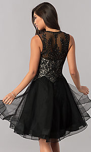 Image of short homecoming dress with Queen Anne v-neckline. Style: PO-8072 Back Image
