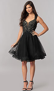 Image of short homecoming dress with Queen Anne v-neckline. Style: PO-8072 Detail Image 2