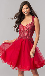 Image of short homecoming dress with Queen Anne v-neckline. Style: PO-8072 Front Image