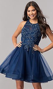 Lace-Applique-Bodice Tulle Short Homecoming Dress