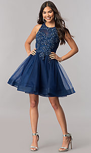 Image of lace-applique-bodice tulle short homecoming dress. Style: PO-8074 Detail Image 1