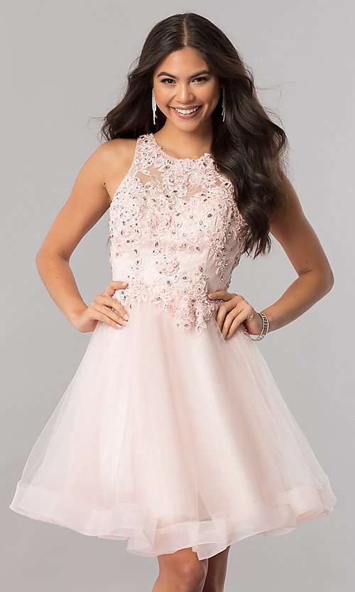 Image of lace-applique-bodice tulle short homecoming dress. Style: PO-8074 Detail Image 2