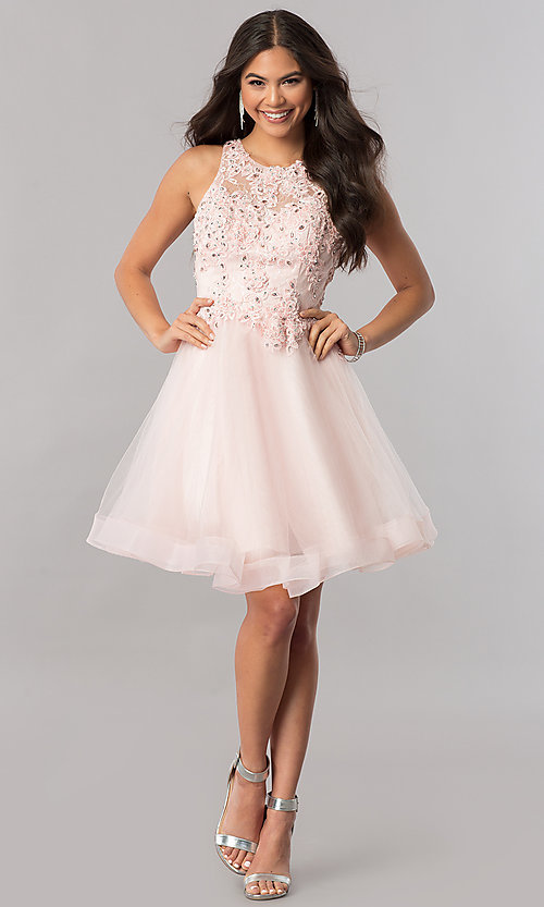 Image of lace-applique-bodice tulle short homecoming dress. Style: PO-8074 Detail Image 3