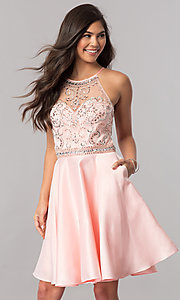 Image of beaded-bodice short homecoming dress with pockets. Style: PO-8038 Front Image