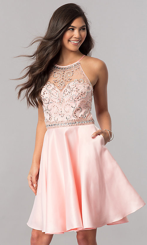 Image of beaded-bodice short homecoming dress with pockets. Style: PO-8038 Detail Image 2