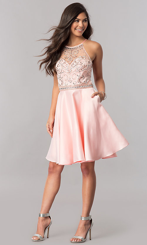 Image of beaded-bodice short homecoming dress with pockets. Style: PO-8038 Detail Image 1