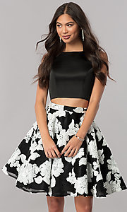Short Two-Piece Prom Dress with Floral Embroidery