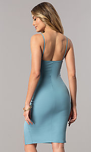 Image of short bodycon bustier homecoming dress with slit. Style: BLU-BD7187-3 Back Image
