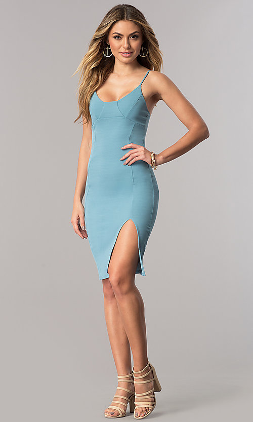 Image of short bodycon bustier homecoming dress with slit. Style: BLU-BD7187-3 Detail Image 1