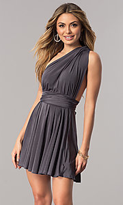 Image of short party dress with multiple wrap-bodice styles. Style: BLU-BD8515 Detail Image 1