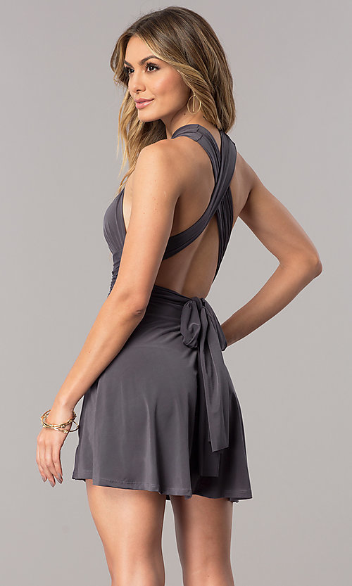 Image of short party dress with multiple wrap-bodice styles. Style: BLU-BD8515 Back Image
