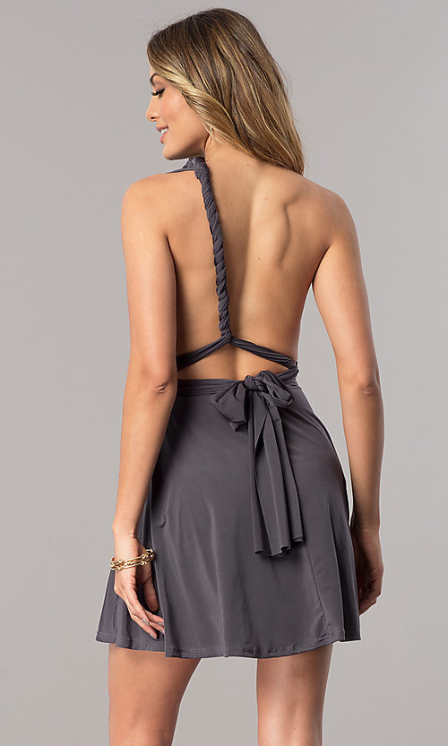 Image of short party dress with multiple wrap-bodice styles. Style: BLU-BD8515 Detail Image 2