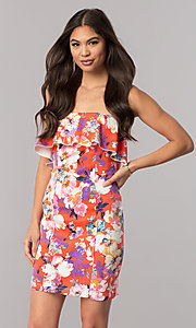 Image of strapless short print casual party dress with ruffle. Style: EM-FGK-3147-638 Front Image