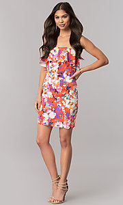Image of strapless short print casual party dress with ruffle. Style: EM-FGK-3147-638 Detail Image 1
