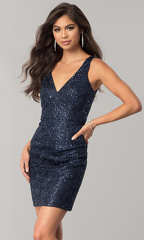Image of short navy blue sequin homecoming dress with cut out. Style: MT-8028-1 Front Image