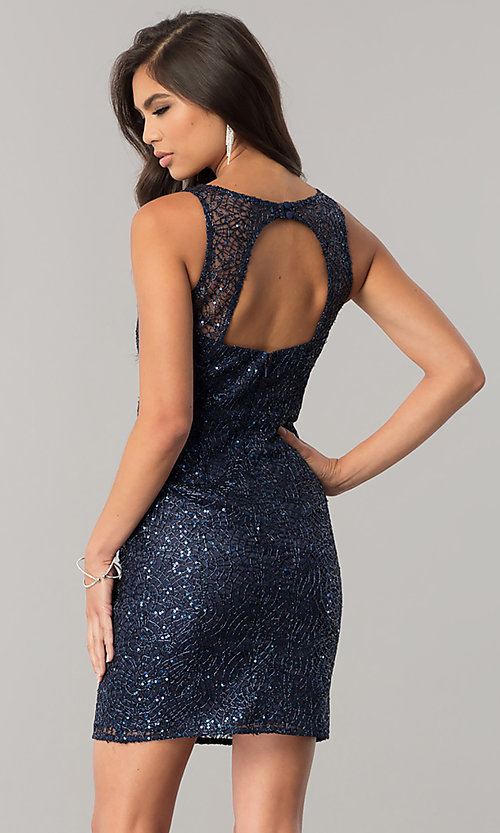 Image of short navy blue sequin homecoming dress with cut out. Style: MT-8028-1 Back Image
