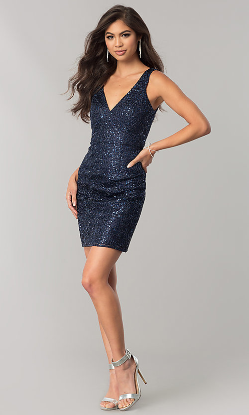 Image of short navy blue sequin homecoming dress with cut out. Style: MT-8028-1 Detail Image 1