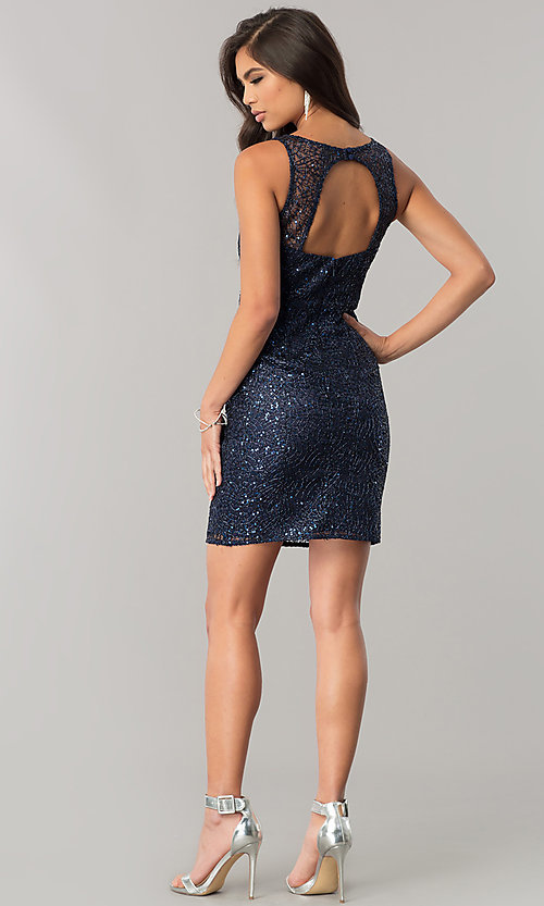 Image of short navy blue sequin homecoming dress with cut out. Style: MT-8028-1 Detail Image 2