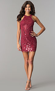 Image of high-neck bodycon embellished homecoming dress. Style: MT-8457 Detail Image 2
