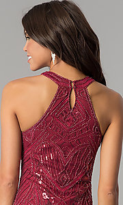 Image of high-neck bodycon embellished homecoming dress. Style: MT-8457 Detail Image 3