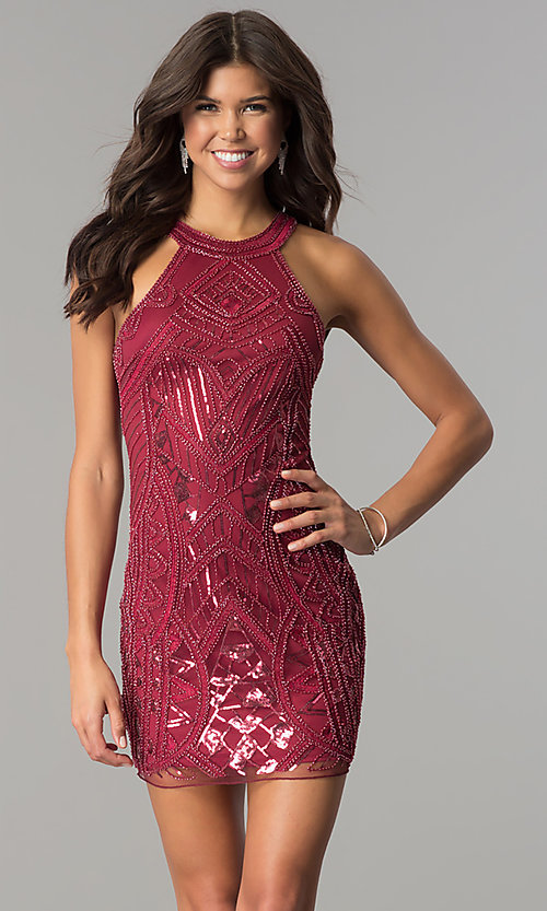Image of high-neck bodycon embellished homecoming dress. Style: MT-8457 Front Image