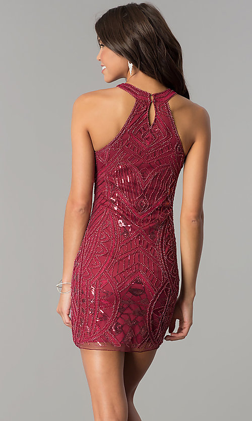 Image of high-neck bodycon embellished homecoming dress. Style: MT-8457 Back Image