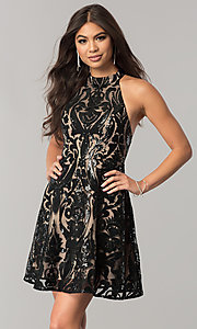 Short Black Sequin Homecoming Dress with Nude Lining