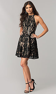 Image of short black sequin homecoming dress with nude lining. Style: MT-8310 Detail Image 1