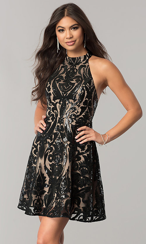 Image of short black sequin homecoming dress with nude lining. Style: MT-8310 Front Image
