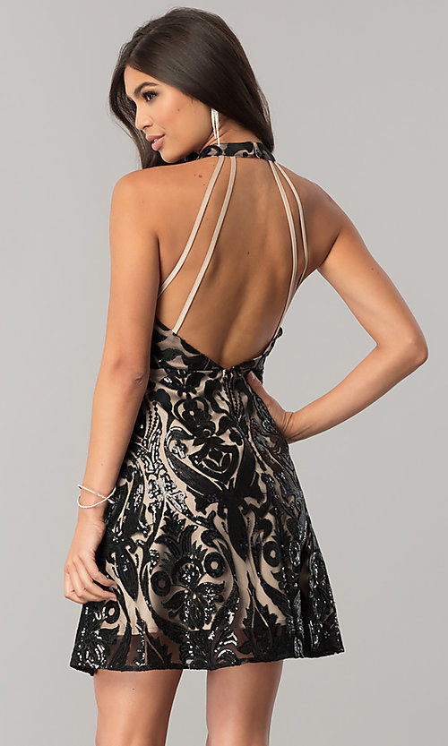 Image of short black sequin homecoming dress with nude lining. Style: MT-8310 Back Image