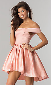 Image of off-shoulder short homecoming dress with high-low hem. Style: MT-8858 Detail Image 1
