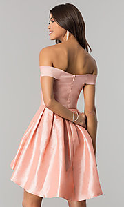 Image of off-shoulder short homecoming dress with high-low hem. Style: MT-8858 Back Image
